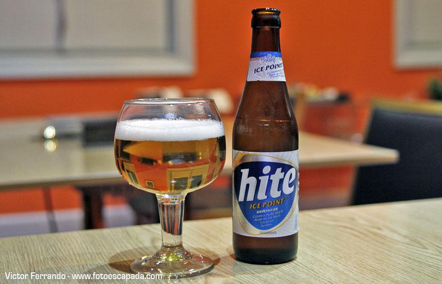 Cerveza coreana Hite Restaurante Maru Madrid