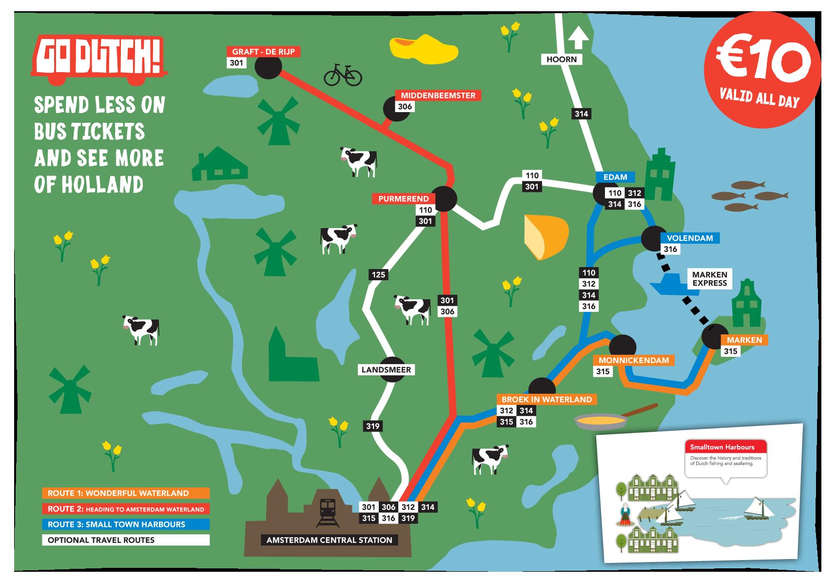 Mapa con las rutas del Waterland Ticket